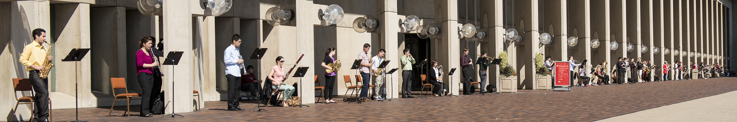 Musicians play at Christian Science Plaza