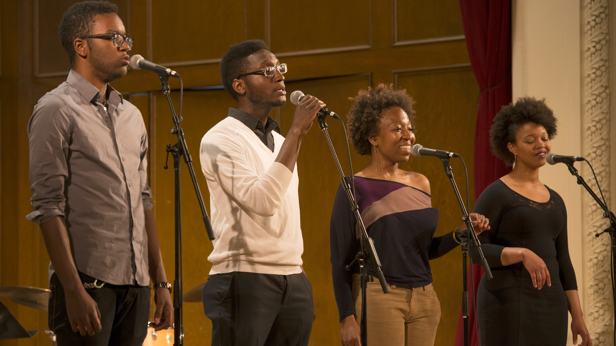 A jazz vocal quartet performs