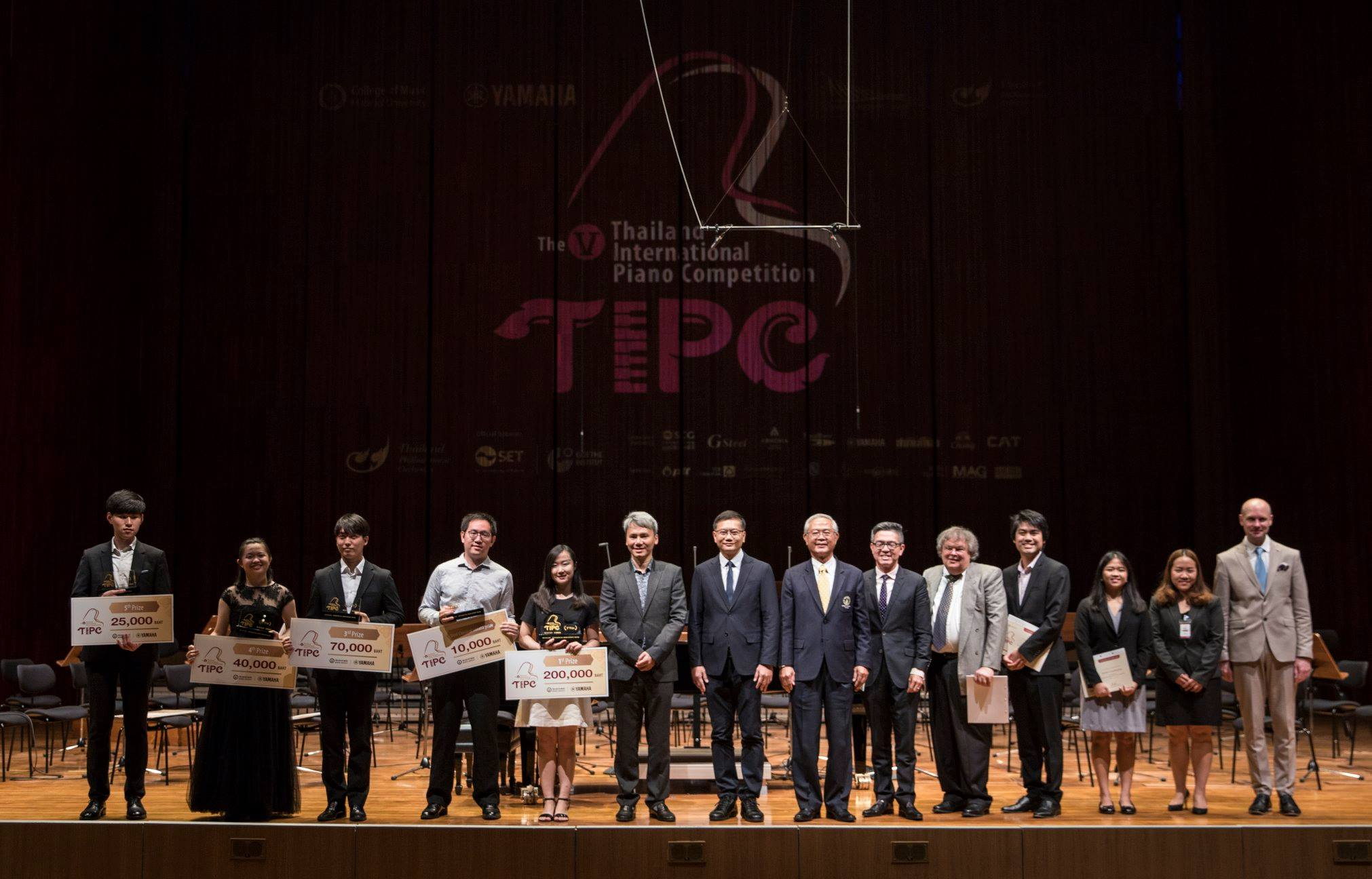Group of winners on stage at V Thailand Piano Competition