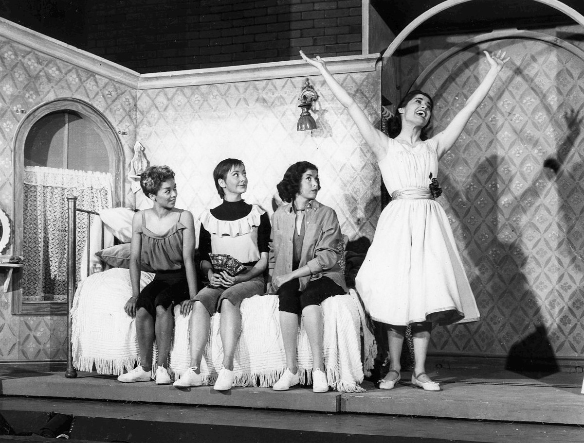 "Photo from the ""I Feel Pretty"" musical number from West Side Story. Pictured from left: Elizabeth Taylor (Francesca), Carmen Gutierrez (Teresita), Marilyn Cooper (Rosalia), Carol Lawrence (Maria). 1957."