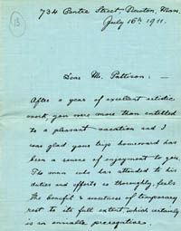 Photograph of a letter penned by Lee Pattison