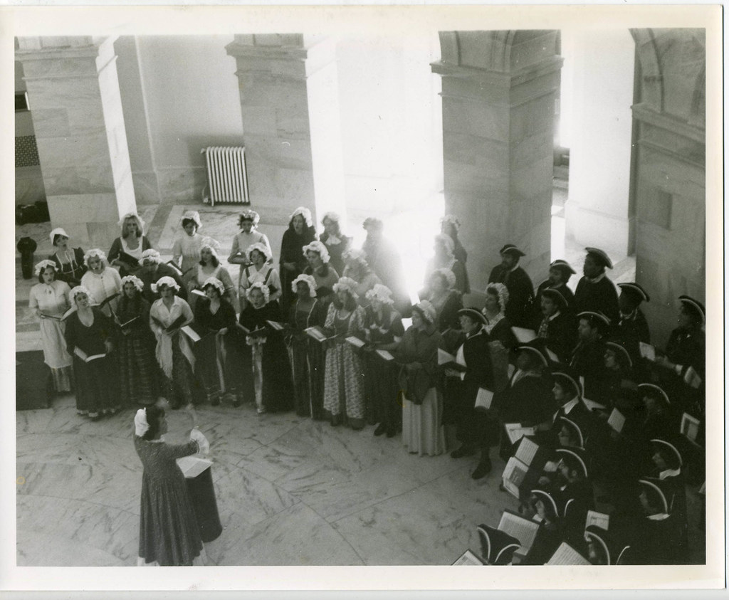 Lorna Cooke deVaron leads the Concert Choir in 1976