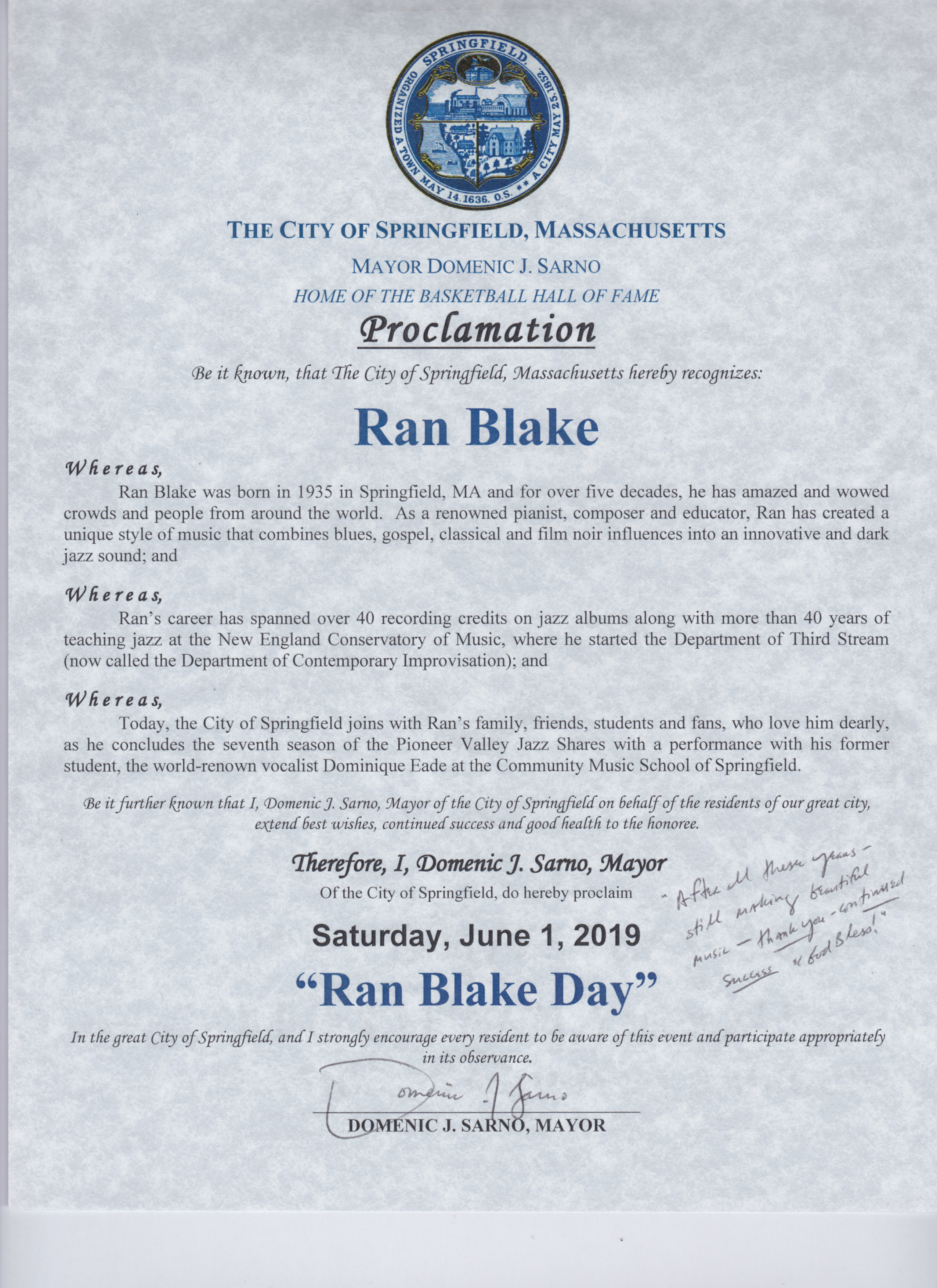 "A declaration of ""Ran Blake Day"" from the Mayor of Springfield"