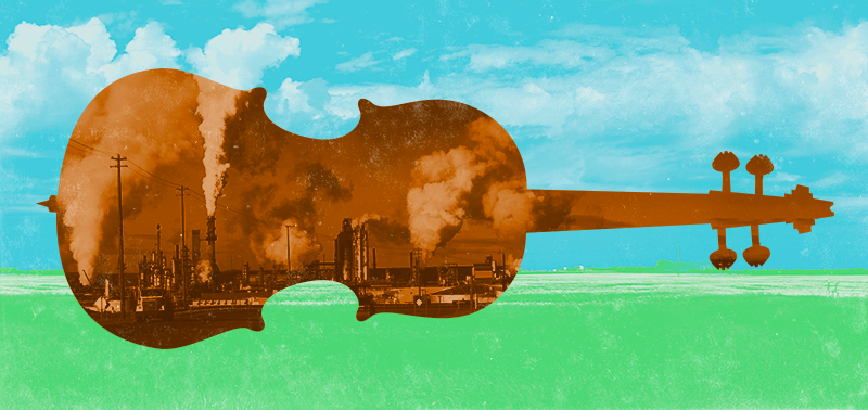 A graphic of a viola with smokestacks of an oil refinery overlaid.