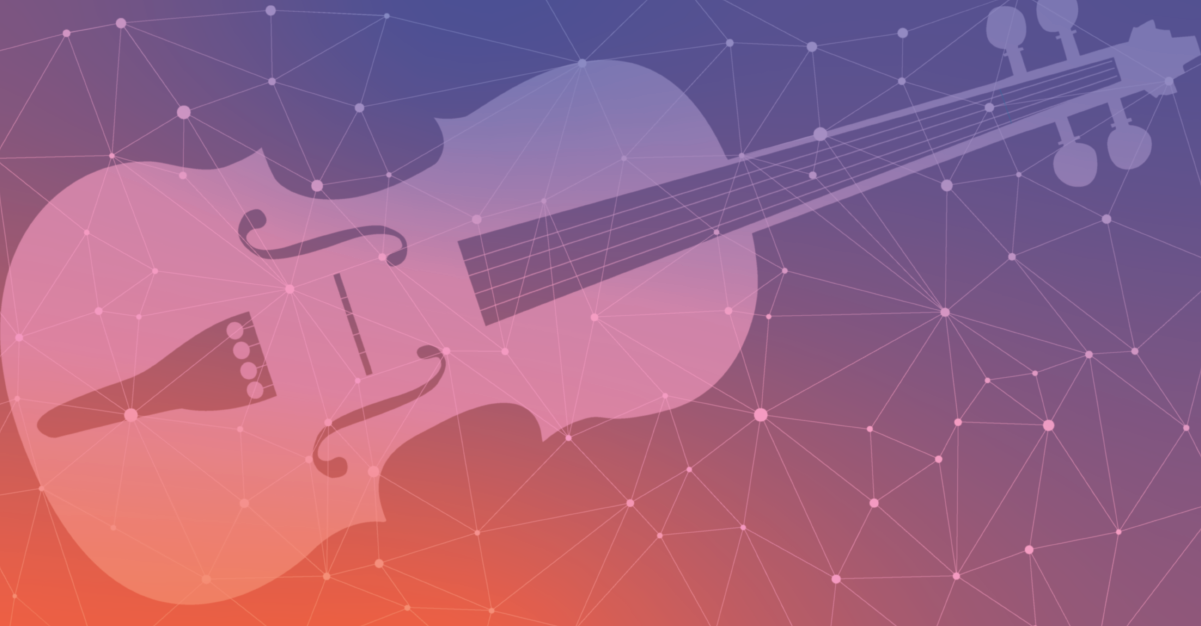 The outline of a violin, against a purple and rose background with a constellation pattern.