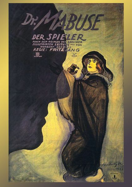Poster for Dr. Mabuse: Der Spieler. On the left is a dark silhouette of a face. On the right, a green background and a figure wrapped in a black cloak.