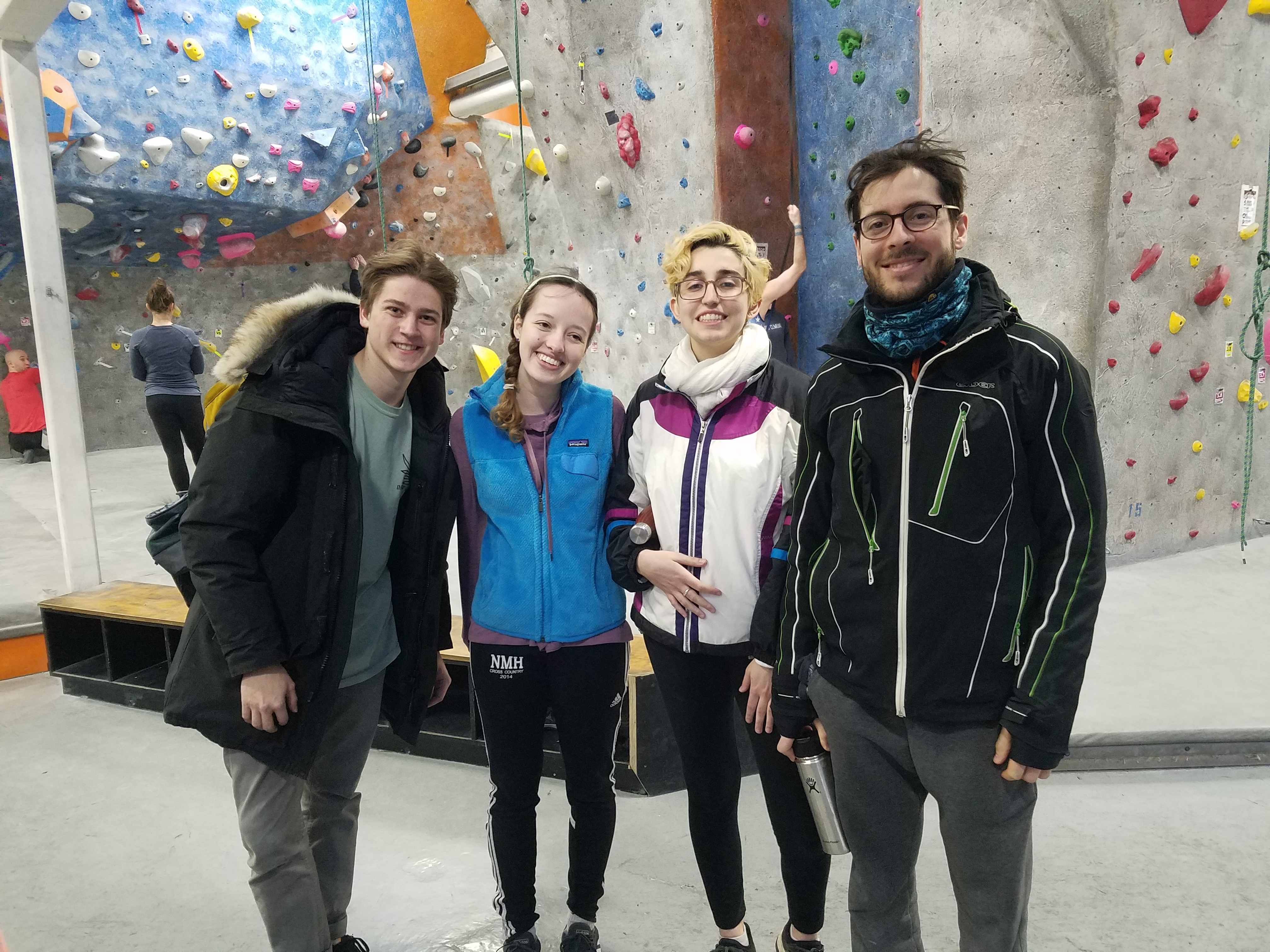 Students at a rock climbing event