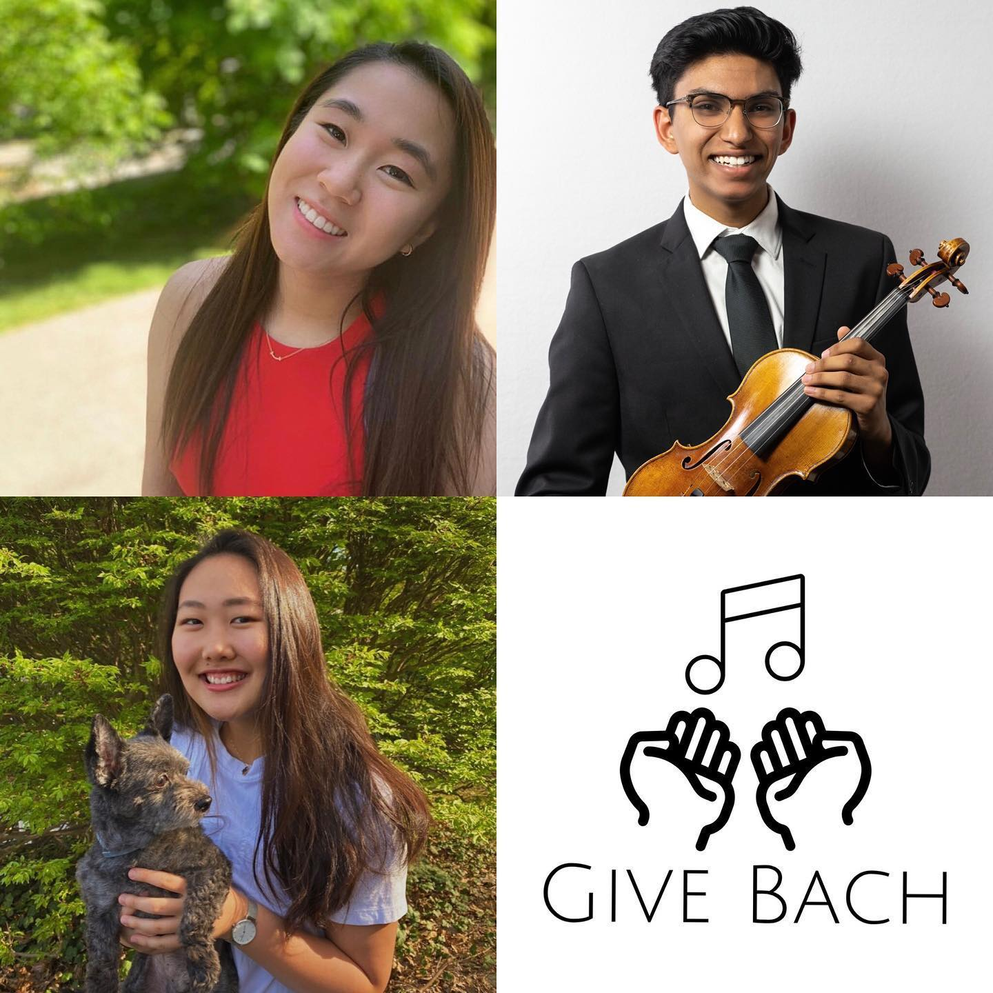 Three smiling NEC Prep students with the Give Bach logo