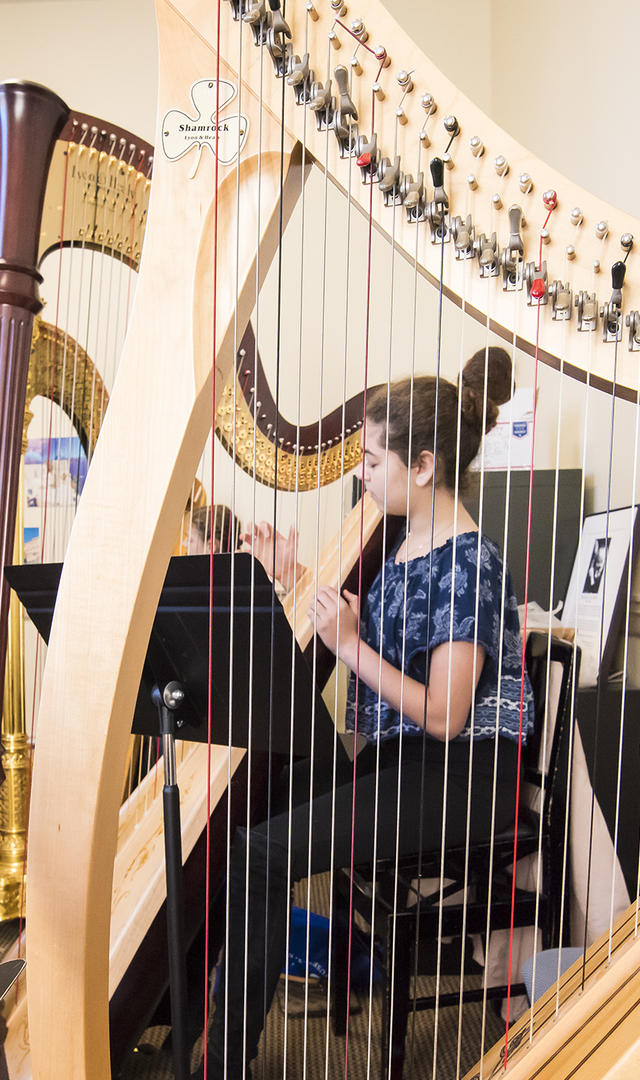 in the N E C Prep Harp studio