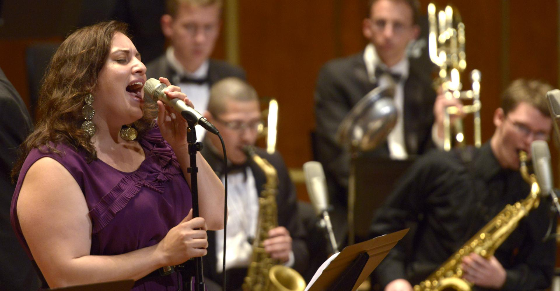 A jazz singer with the N E C Jazz Orchestra