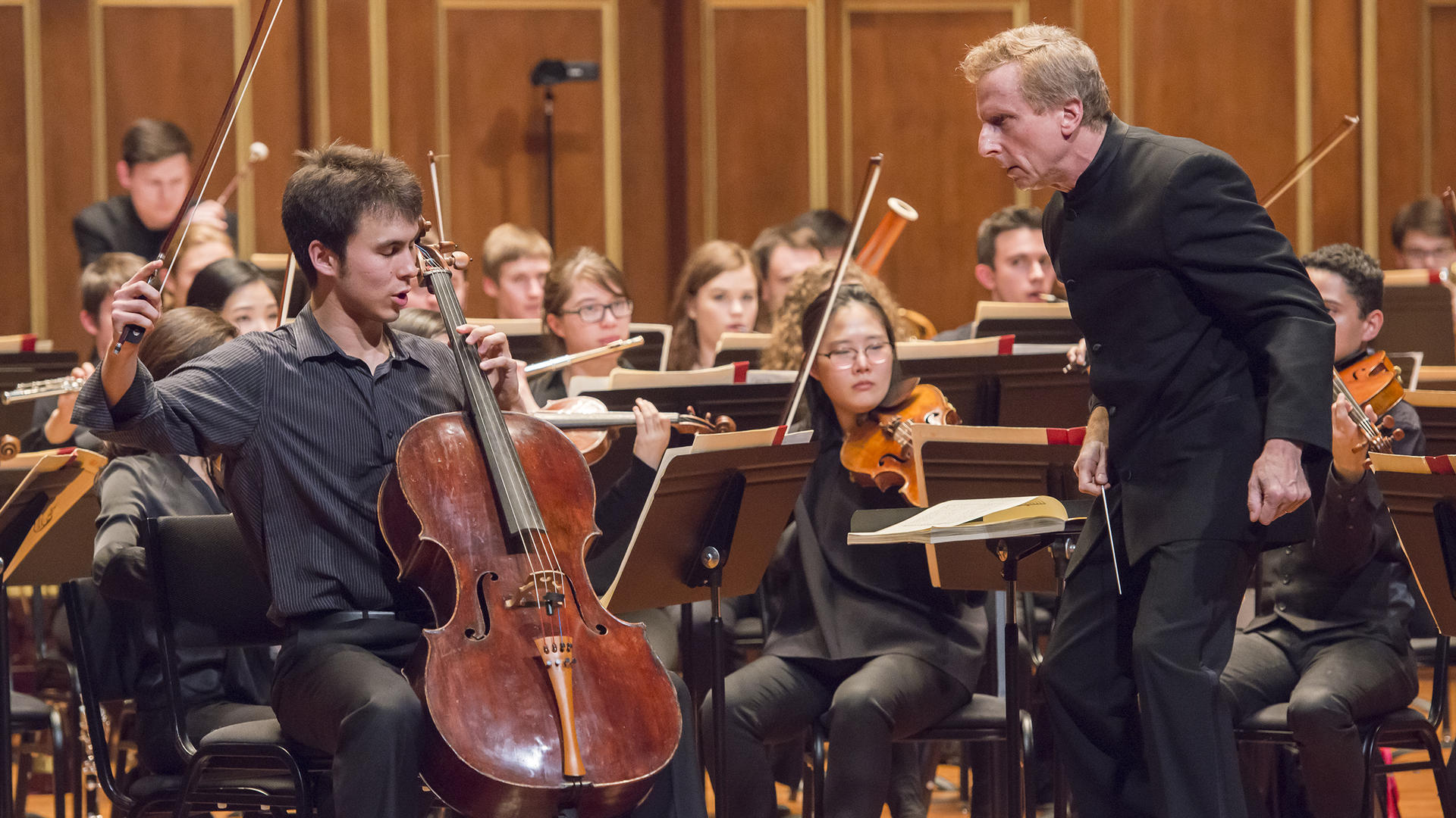 Cellist Jonah Ellsworth solos with the NEC Philharmonia
