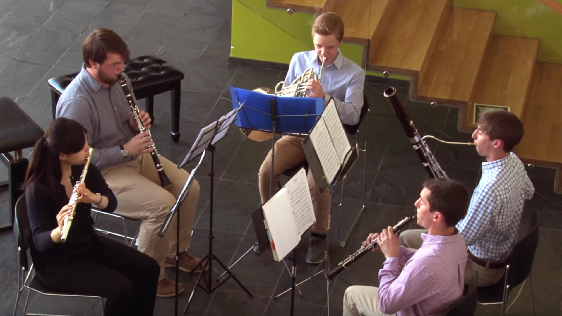 A Prep Woodwind Quintet performs