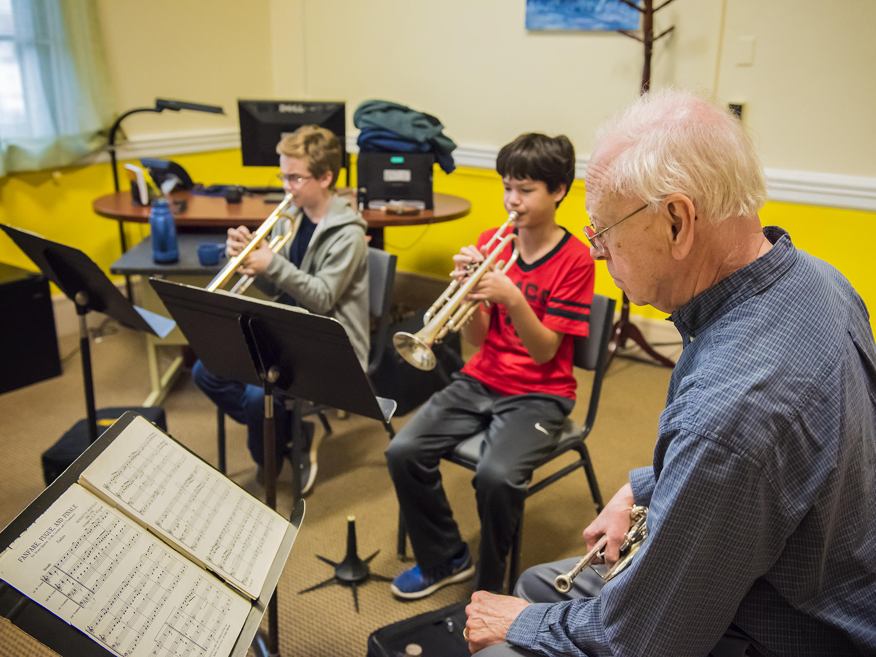 A Prep brass chamber group rehearses
