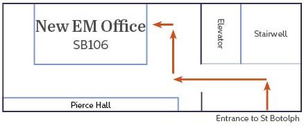 EM's new office is at SB106, across from Pierce Hall