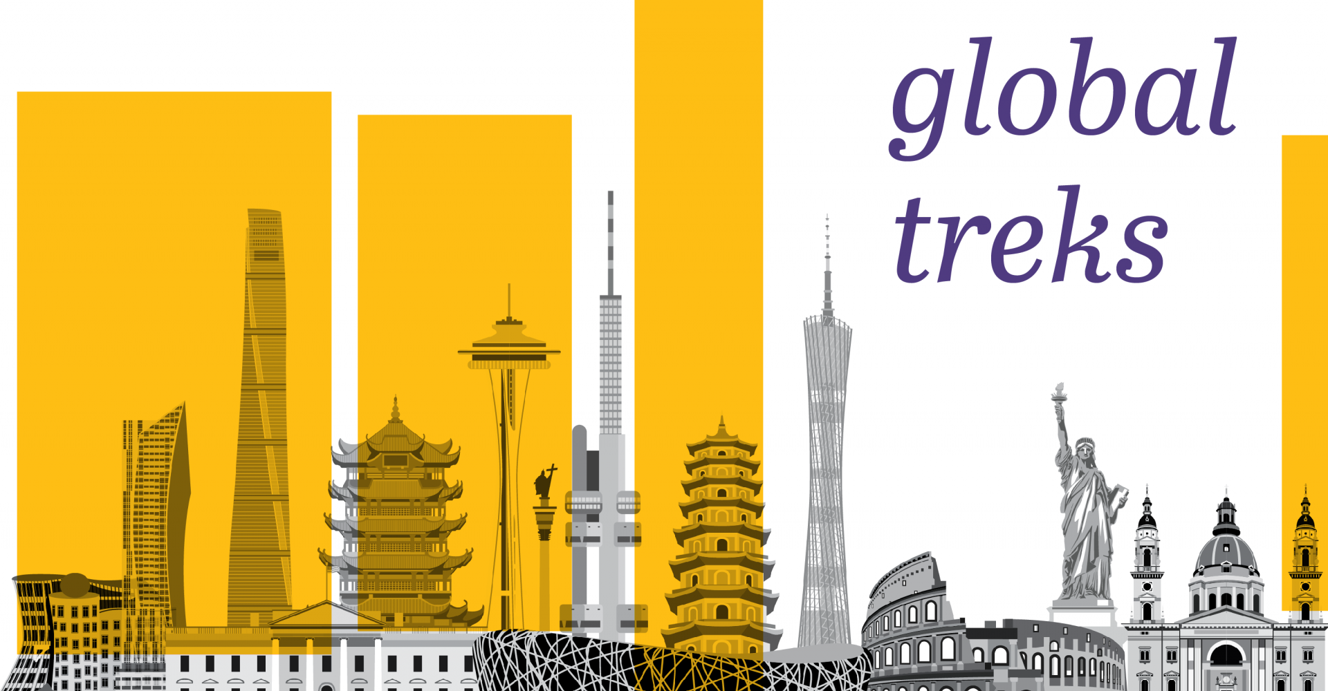 "A skyline with famous buildings from around the world, with the words ""global treks"""