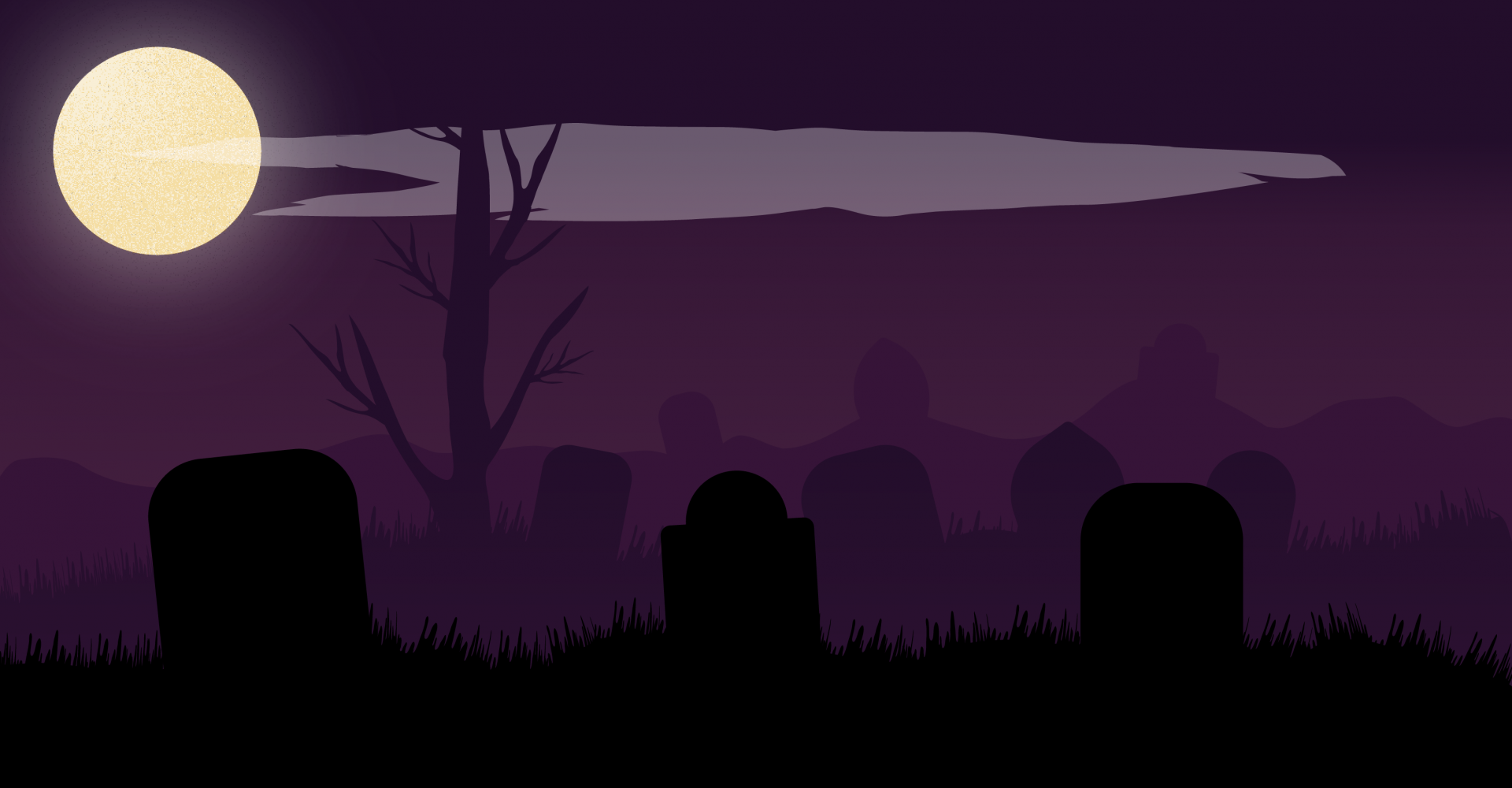 A full moon over a graveyard and spooky purple sky.