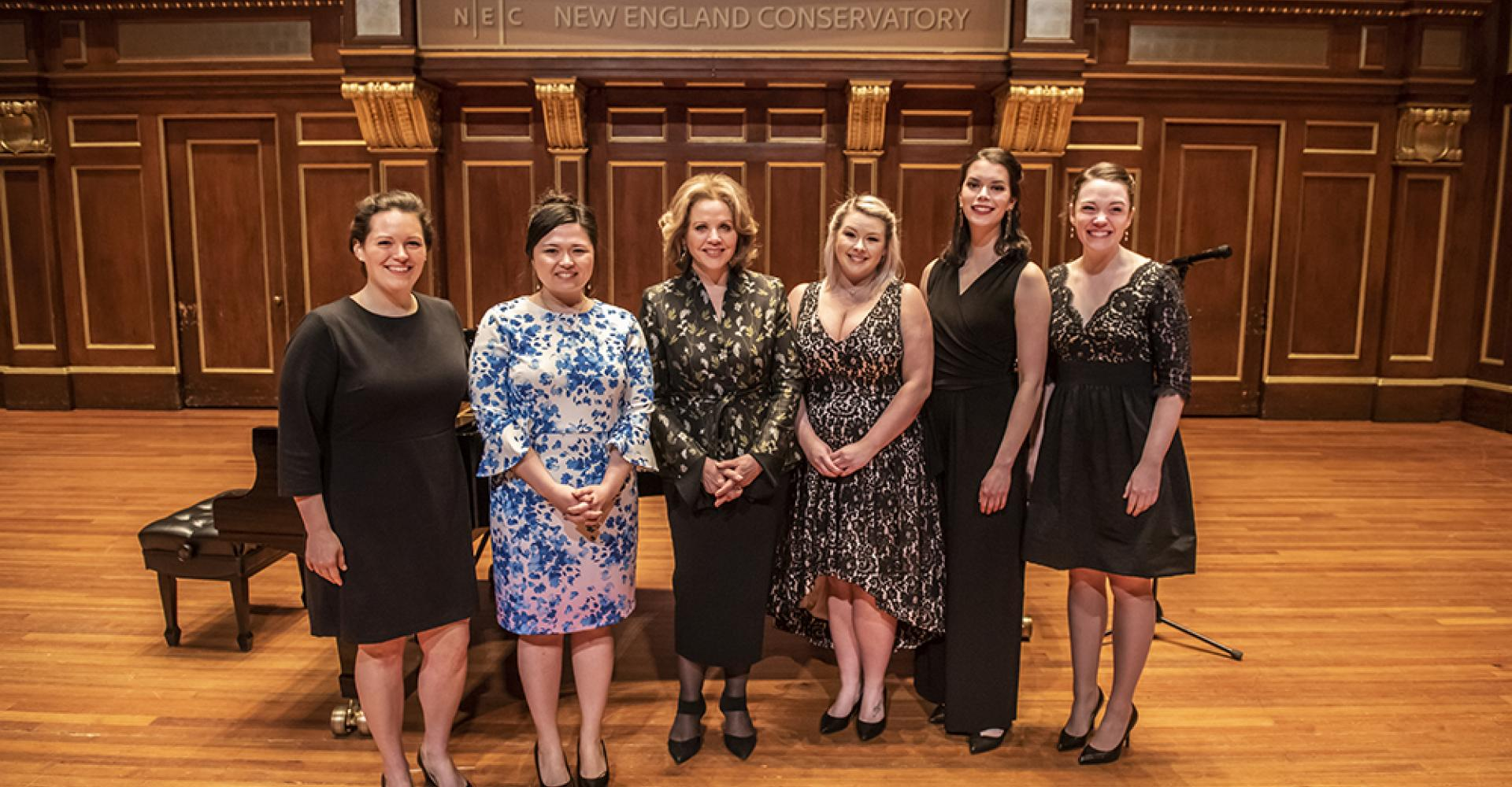 Renee Fleming with a group of students from her masterclass in jordan hall