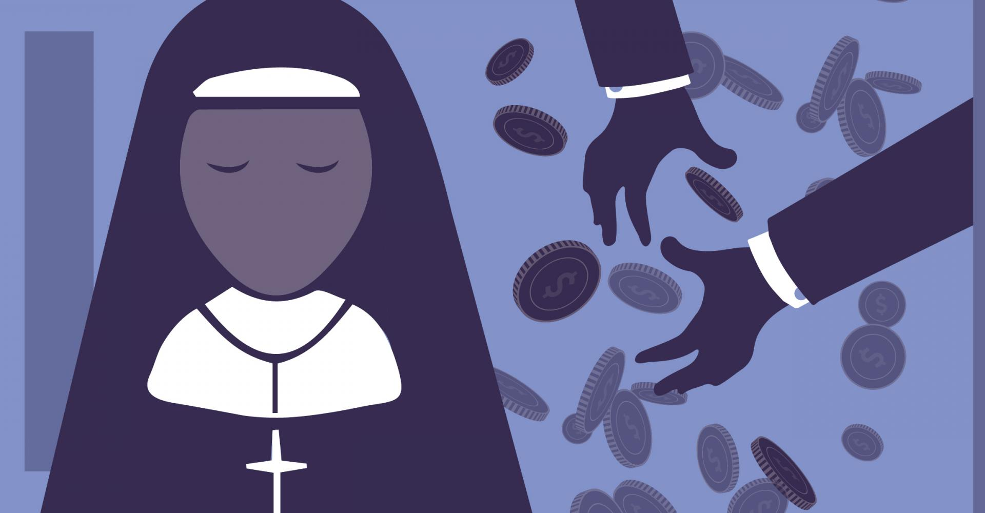 Nun and hands throwing coins