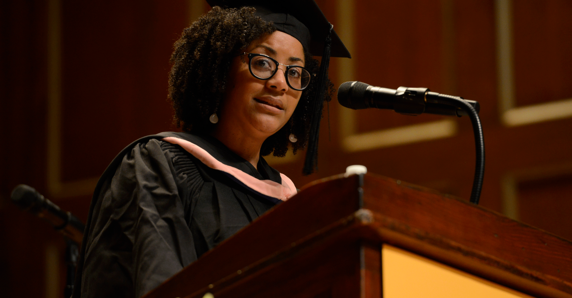 Ashleigh Gordon speaks at the podium during Commencement 2019