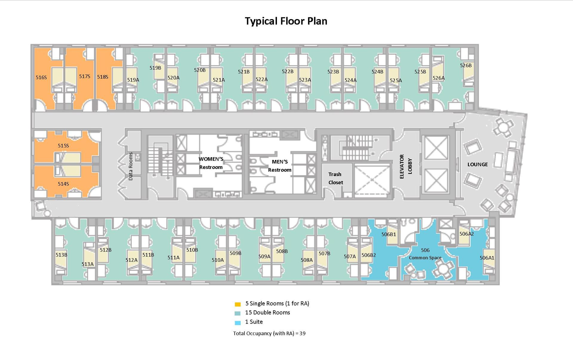 Sample residence room layouts new england conservatory for Laundry room floor plan example
