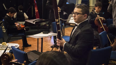 A Prep bassoonist warms up