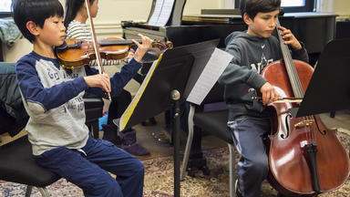 A Prep chamber music group rehearses