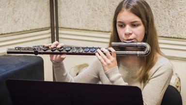 A Prep student plays alto flute