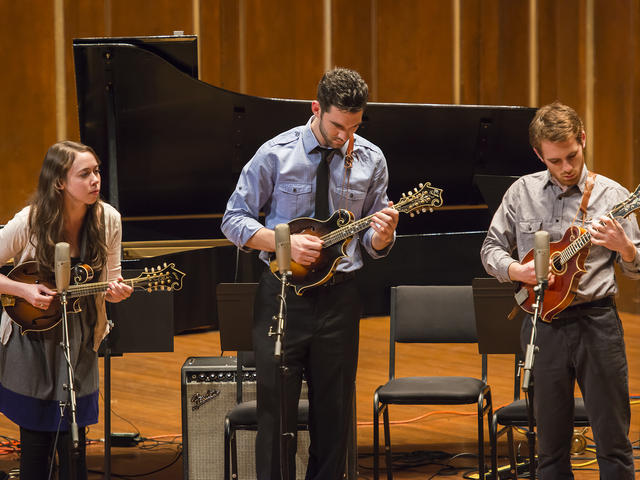 Three Contemporary Improvisation students play mandolin