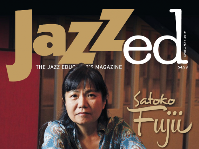 Cover of JAZZed April-May 2019 edition with portrait of alumna Satoko Fujii