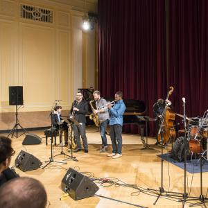 A small jazz ensemble in concert