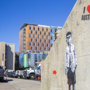 I love Boston graffiti adorns NEC Campus