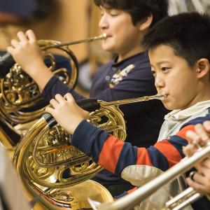 NEC Prep School Horn section rehearses