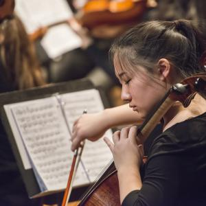 A cellist performs with the Prep Youth Philharmonic Orchestra