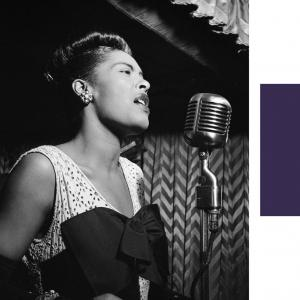 Billie Holiday sings into a microphone in one black and white image, while George Jones plays guitar and sings in a second picture.