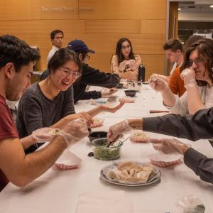 Students and staff gather for the Dumpling Night