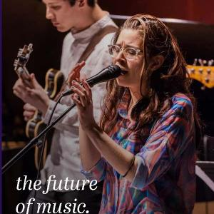 2019-2020 Catalog Cover with student singing and student playing guitar