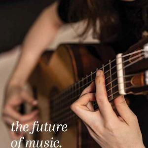 2020-2021 Catalog Cover with Student playing guitar